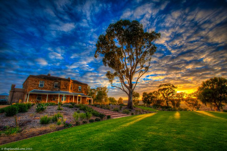 The sun rises in the beautiful Barossa Valley in South Australia