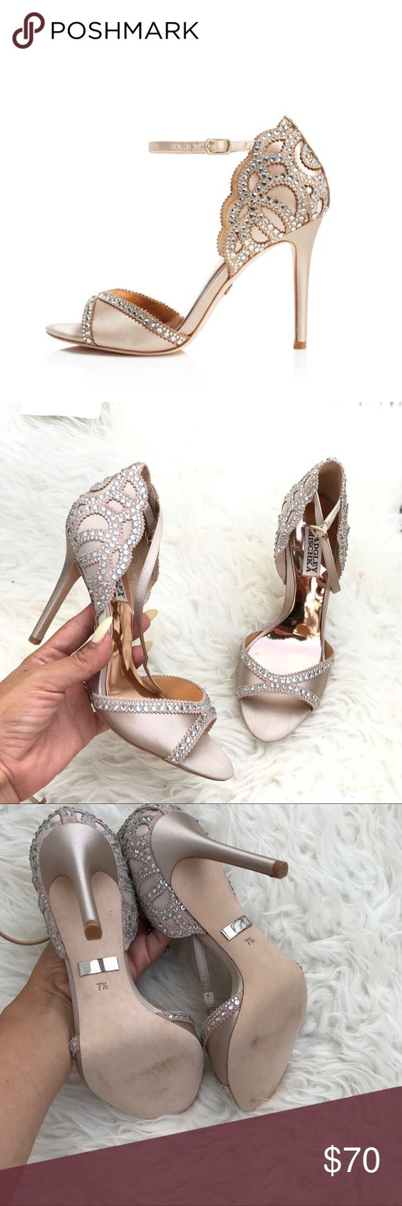 """BADGLEY MISCHKA AUTHENTIC Satin PUMPS SZ 7.5 new BADGLEY MISCHKA AUTHENTIC Satin PUMPS SZ 7.5 new 100% authentic! NO BOX ! STORE DISPLAY NEW NEW NEW !!! Itemcloset#doze.  You won't lack razzle-dazzle in this show-stealing sandal fashioned with a radiating array of light-catching crystals and a subtly scalloped topline. 3 3/4"""" heel  2 3/4"""" strap height Adjustable buckle strap closure Satin and leather upper/synthetic and satin lining/leather sole Badgley Mischka Shoes"""