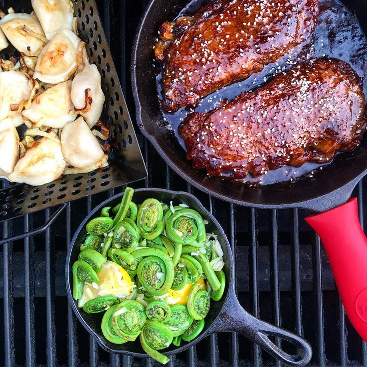 My wife has been feeling a little under the weather these past few days. So, well she rested, I cleaned. I wanted to make her one of her favourite dining out meals, (teriyaki #NYstriploin) but there was no way that I was searing a steak in the freshly cleaned kitchen. Out to the @webergrillsca I went with my trusty @lodgecastiron in tow... and I must say, she really enjoyed her steak with grilled pierogies and seasonal #fiddleheads. Have a nice evening everyone! @zimmysnook