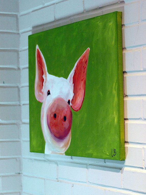 Pig Painting Canvas Art Acrylic 18x24 Patrick the by LoganBerard on Etsy