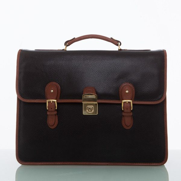 Cathy Prendergast Irish Designer Leather Handbags - Ossian Black and Tan Briefcase