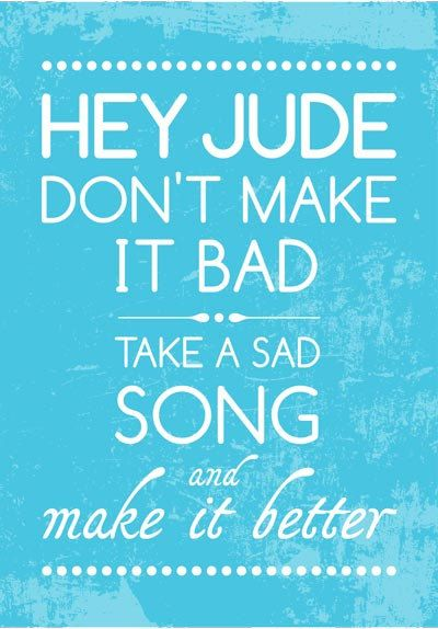 SALE Beatles Song Music HEY JUDE Poster Art by PeanutoakPrint