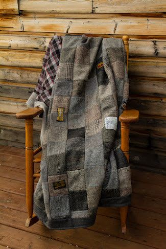 Hand made recyled wool coats quilt blanket by FishGirlStudio