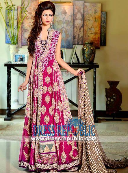 Black Hot Pink Collar Neck Two Legged Sharara Dress Rani Emaan Bridal Dresses 2014 In Angrakha
