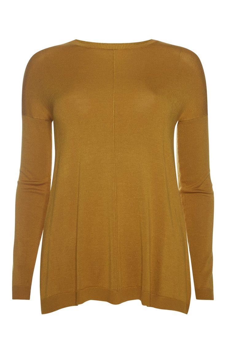 Primark - Mosterdkleurige trui met voornaden