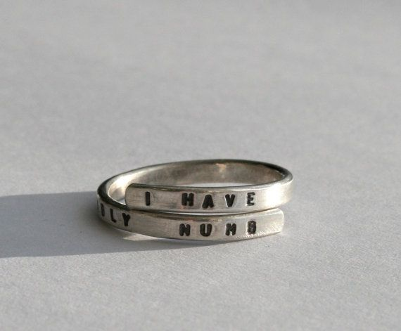 Handstamped Silver lyric Ring. 'I have become by BonnyandRead