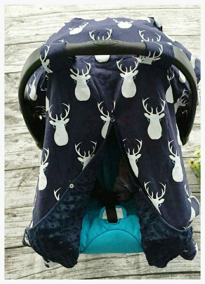 Baby Boy Car Seat Cover White Deer And Blue Baby Gift Carseat