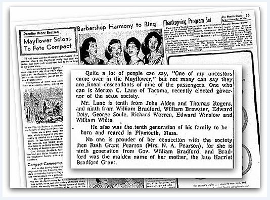 An article about Mayflower descendant Merton Chesleigh Lane, Seattle Daily Times newspaper article 19 November 1961