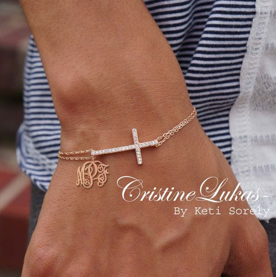 14k Rose Gold with Sterling Silver -Celebrity Style Sideways Cross Bracelet with Monogram Initials Charm on Etsy, $69.00