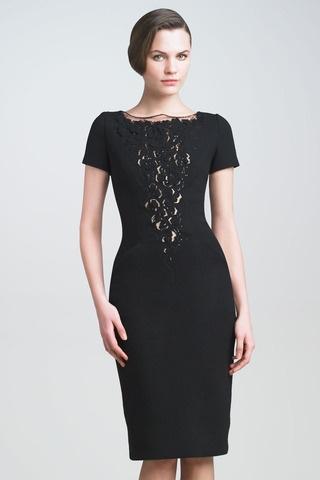 Lace-Plunge Crepe Dress
