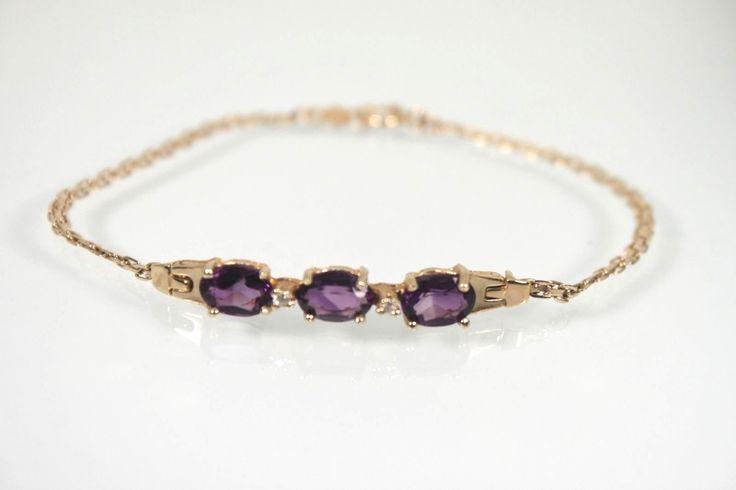 Gold Bracelet 14k  Purple Amethyst & Diamond Bracelet by WarrenExchange on Etsy