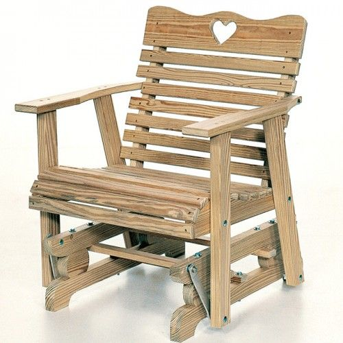 Amish Outdoor Furniture Small Heart Comfortable Glider Chair