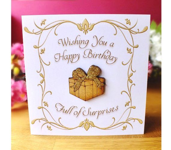 Luxury Birthday Card General Birthday Card For All Ages Wooden Gift Box With Gold Glitter Ribbon Luxury Birthday Cards Birthday Cards 40th Birthday Cards