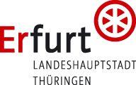 Wort-Bild-Marke mit Schriftzug Erfurt, daran hochgestelltes rotes Rad und Zusatztext Landeshauptstadt Thüringen