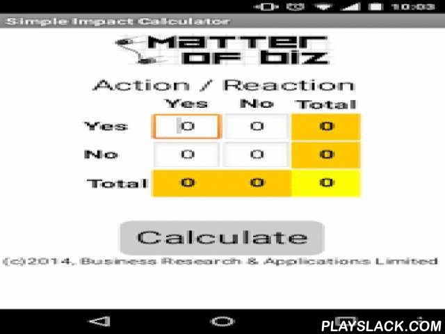 Simple Impact Calculator  Android App - playslack.com , Measures the dependence between two actions (i.e. Having been exposed to an advertising campaign and having bought the product, which can be used to measure social media ROI).This app calculates the probability that both actions are interconnected by using Fisher's exact test, a statistical technique which is widely used when samples are small (i.e. Few customers surveyed).The significance of the association is estimated by the mid…