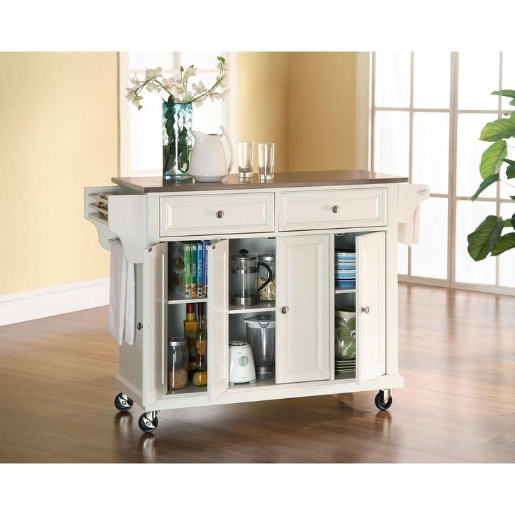 Vintage Crosley in Stainless Steel Top Kitchen Island Cart in White KFEWH The