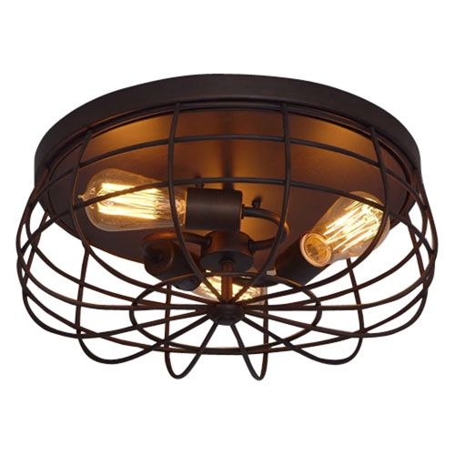 Neo Industrial Rubbed Bronze Three Light Flush Mount Fixture Ceiling Lamp Flush Mount Flu