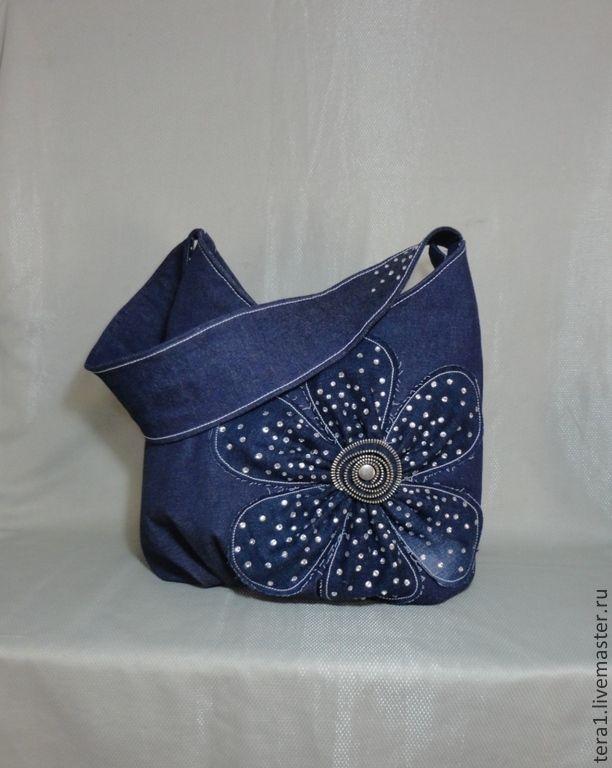 Купить Сумка джинсовая Полночный цветок - тёмно-синий, однотонный, сумка, сумка женская