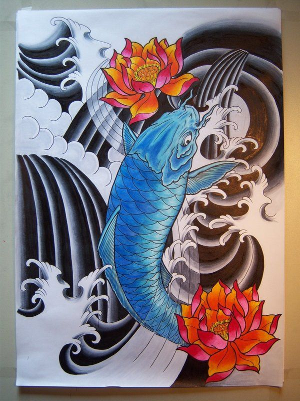 Blue koi with lotus by on for Blue koi fish meaning