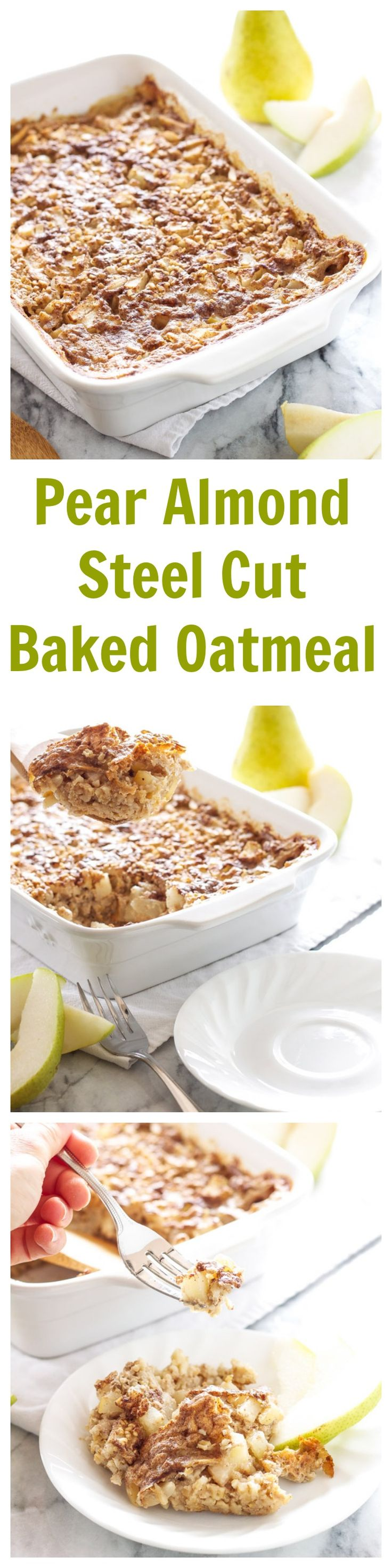 Pear Almond Steel Cut Baked Oatmeal | Recipe Runner | Pears and almonds are the perfect combination in this comforting baked oatmeal!