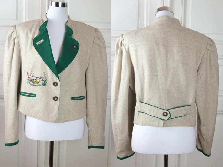 Bavarian Vintage Trachten Jacket, Cream Forest Green Linen-Blend Folk Blazer w Embroidered Duck, German Clothing: Size 12 US, 16 UK by YouLookAmazing on Etsy
