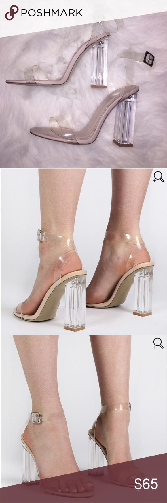 Clear Perspex Heels Yeezy inspired clear perspex heels as seen on all the Kardashians and more! They're too big for me so I got a new size and I need to get rid of these. Only tried on once. Labeled a women's size 6 Yeezy Shoes