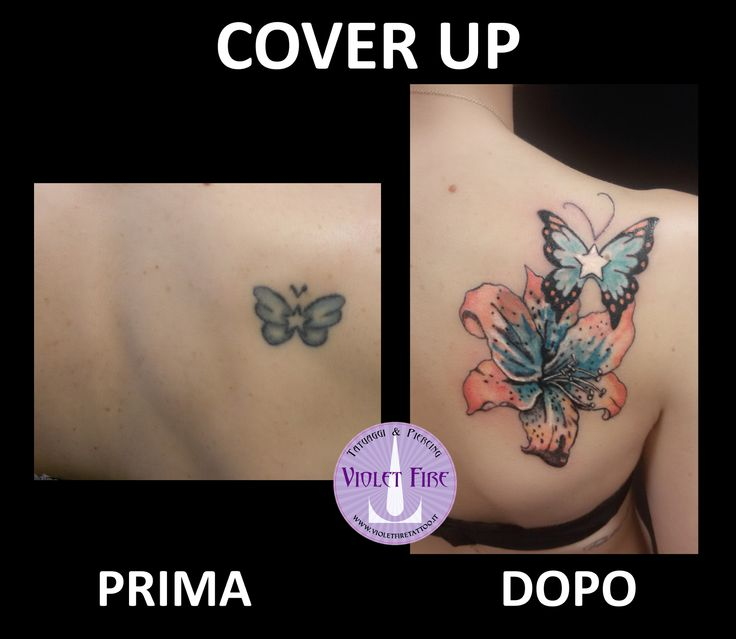 tatuaggio fiore giglio a colori arancione, azzurro, verde acqua - tatuaggio farfalla azzurra e arancione colori con stella  - tatatuaggio fiori, tatuaggio fiore, tatuaggio stella, tatuaggio giglio, tatuaggio farfalla, tatuaggio schiena, cover-up, copertura tatuaggio - violet fire tattoo - tatuaggi maranelo, tatuaggi modena, tatuaggi sassuolo, tatuaggi fiorano, tatuaggi formigine