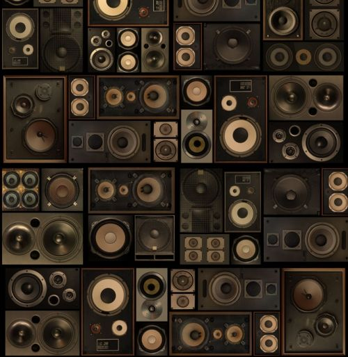 This is the perfect wallpaper for the lover of music and vintage. Speaker Boxes Custom Mural   Custom mural wallpaper
