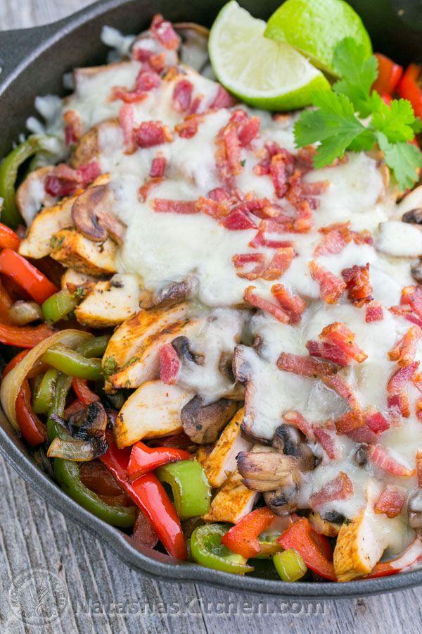 Chicken and Mushroom Fajitas - A Copycat Recipe for Chilis Restaurant Fajitas. So GOOD!! @natashaskitchen