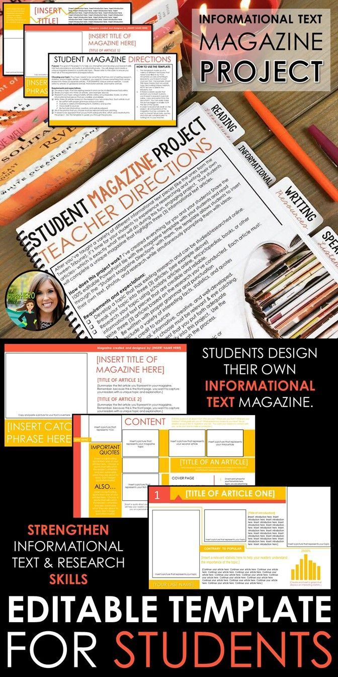 Informational text project where students design their own magazine and informational text articles | Research writing | Writing for purpose | Hands-on, engaging activity for teens | Grades 7-12