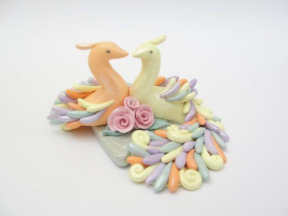 Peacock heart wedding cake topper by fizzyclaret