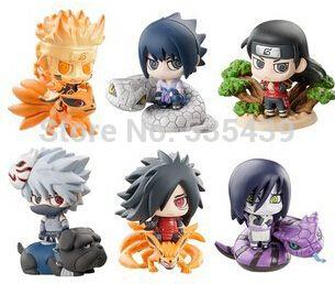 Hot! BARU 6 PCS/set Q versi 5 cm naruto Uchiha Madara Uchiha Sasuke Orochimaru action figure mainan Natal mainan