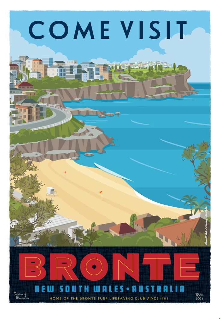 """""""Come visit Bronte """" Travel poster. 70 x 100cm available from: info@russelltate.com"""