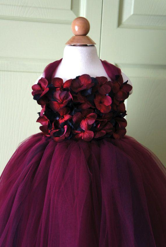 Flower Girl Dress Marsala Dress Wine Red And Black Tutu