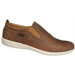 Men slipper shoes tan color. Leather moccasins with contoured inner sole, rubber in koutepie comfortable fit and elastic outsole. Casual look and comfort large sizes from Jomos. Final price: €92,00