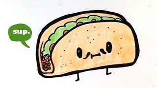 How To Draw Cartoon Tacos Cute Step By Step Easy Cute Cartoon Food ...