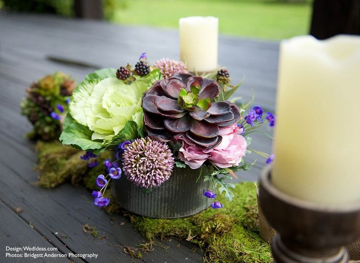 Succulent and cabbage head nature inspired centerpieces