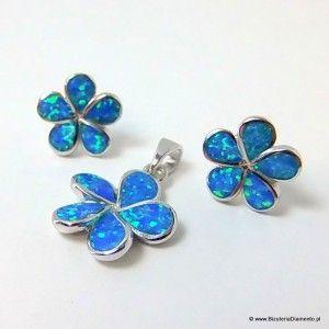 Komplet biżuterii srebrnej w kształcie kwiatków. Kamień - syntetyczny opal australijski.