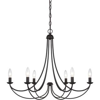 This five-light black chandelier complements your room with style and class. Featuring a contemporary iron design, this hardwired chandelier is a perfect addition to your existing decor. The five ligh                                                                                                                                                                                 More