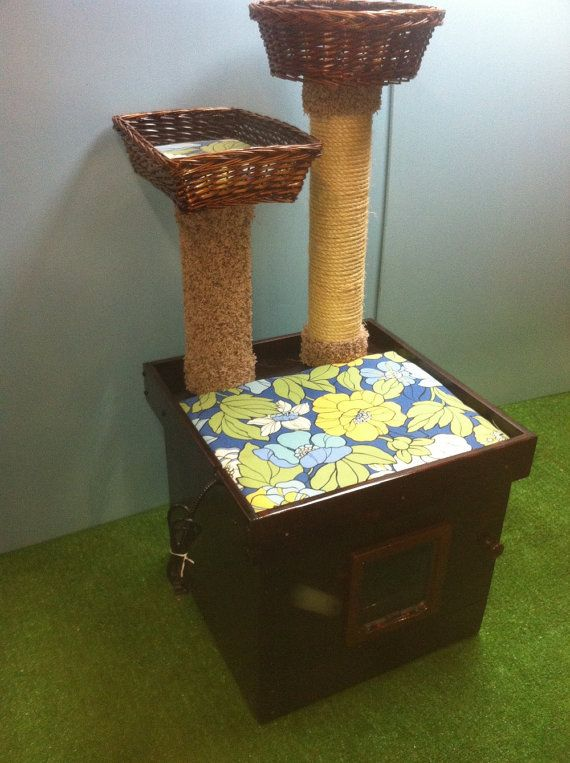 deluxe kitty cat cat bed litter box enclosure