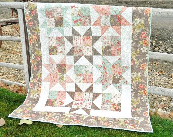 Quilt HANDMADE Patchwork Sofa Throw Lap Quilt by QuiltPetaler, Martinique   Holiday sale $189.00