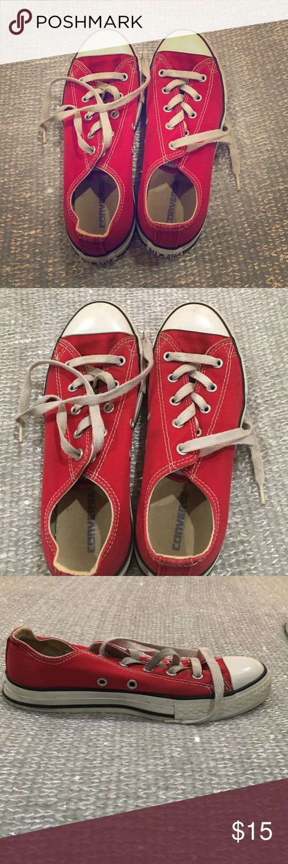 Red converse Previously poshed red converse sneakers. Shoes were too big for me. These are worn but still have a lot of life in them. These are a size 3 which is equivalent to a women's 5. Converse Shoes Sneakers