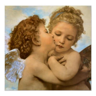 First Kiss by Bouguereau, Vintage Victorian Angels Poster