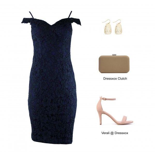 Thu Navy Lace Contour Dress