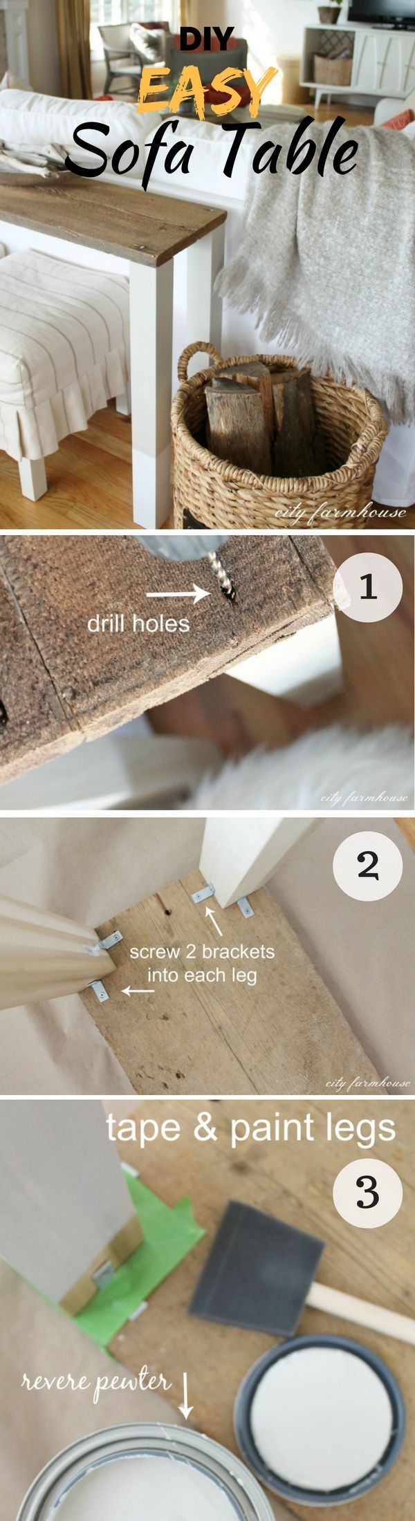 Check out how to make this easy DIY sofa table form reclaimed wood @istandarddesign