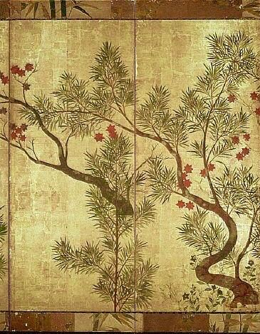 Detail. Ogata Korin. Shinfu screen. Almost a direct copy of Chinese Black Pines by Sotatsu. Japanese folding screen. Eighteenth century.