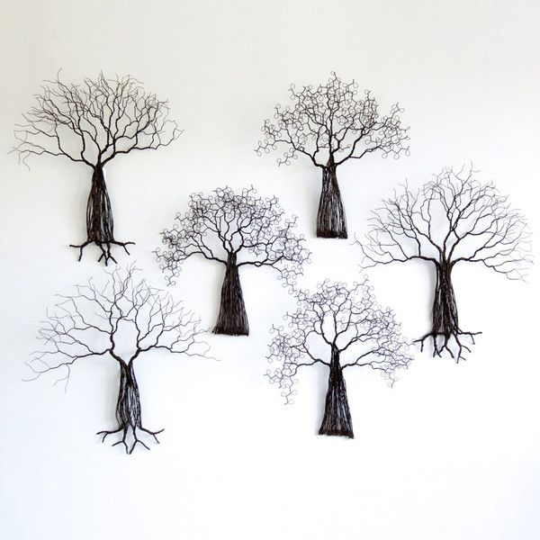 Wire Tree - wall mounted | The Woven Trail.  These reclaimed wire trees each have their own unique patina.  Their branches stretch out from the wall to create amazing 3D art!  #upcycle #recycled #handmade #african #artisan