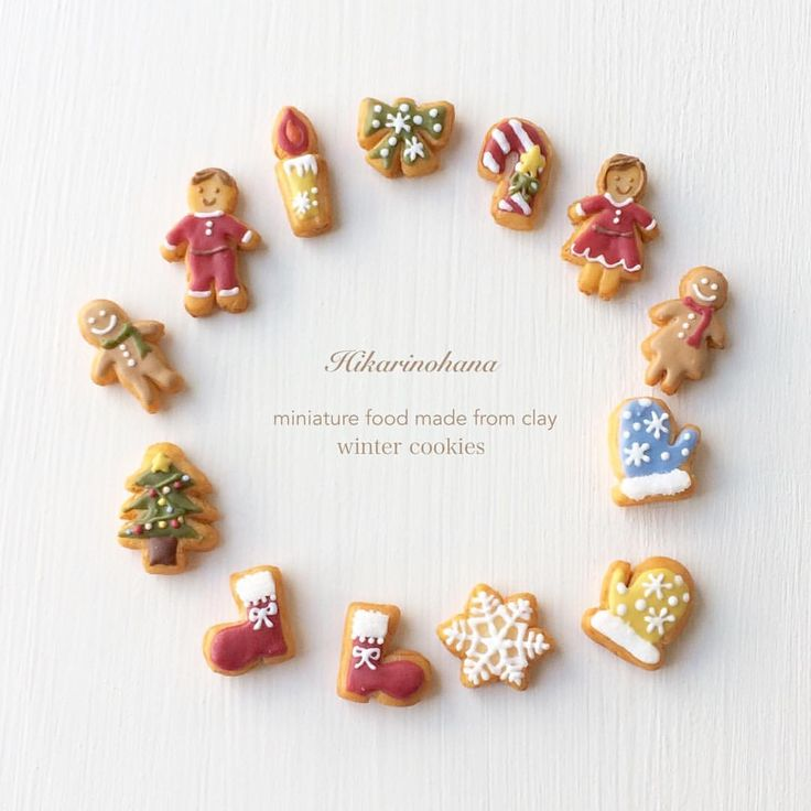 miniature food Christmas Icing cookies made from air dry clay