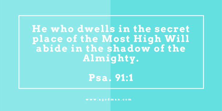 Psa. 91:1 He who dwells in the secret place of the Most High Will abide in the shadow of the Almighty. Bible Verse quoted at www.agodman.com