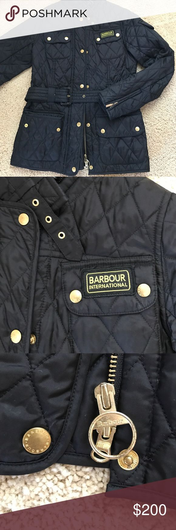 Barbour quilted jacket Black Barbour quilted belted jacket with gold zipper/buttons AUTHENTIC- worn a couple times looks completely brand new! Barbour Jackets & Coats